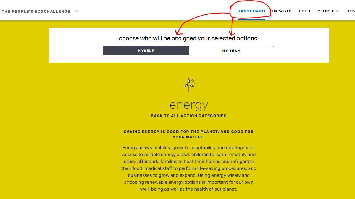 Image showing the energy action category page and specifically pointing out the ability to select actions for 'yourself' or 'your team' at the top of the page.