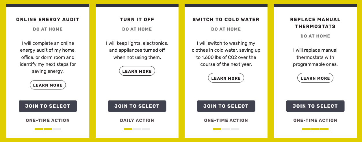 Image showing four of the actions included in the energy category of The People's Ecochallenge (Online Energy Audit, Turn it Off, Switch to Cold Water, Replace Manual Thermostats