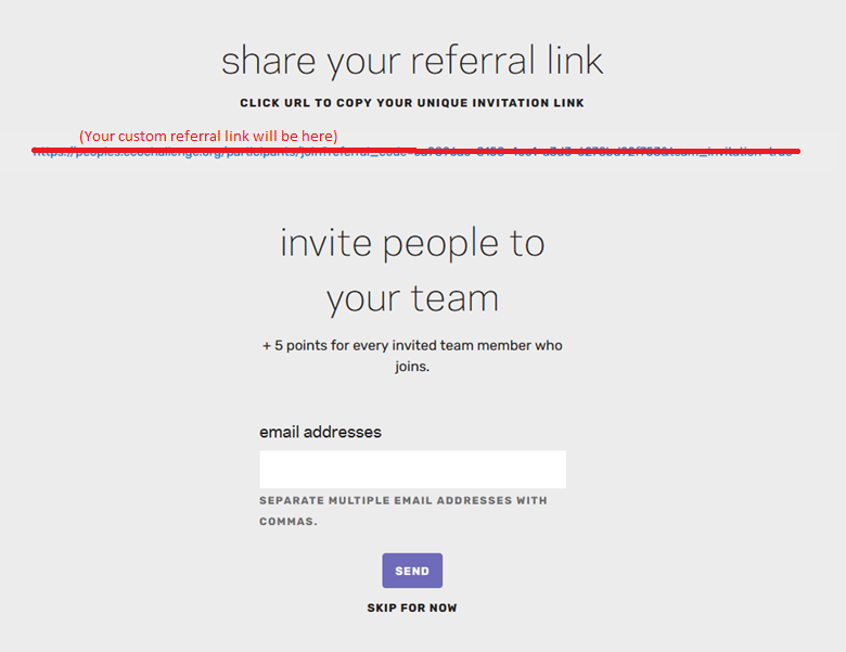 A photo of the invite teammates page.