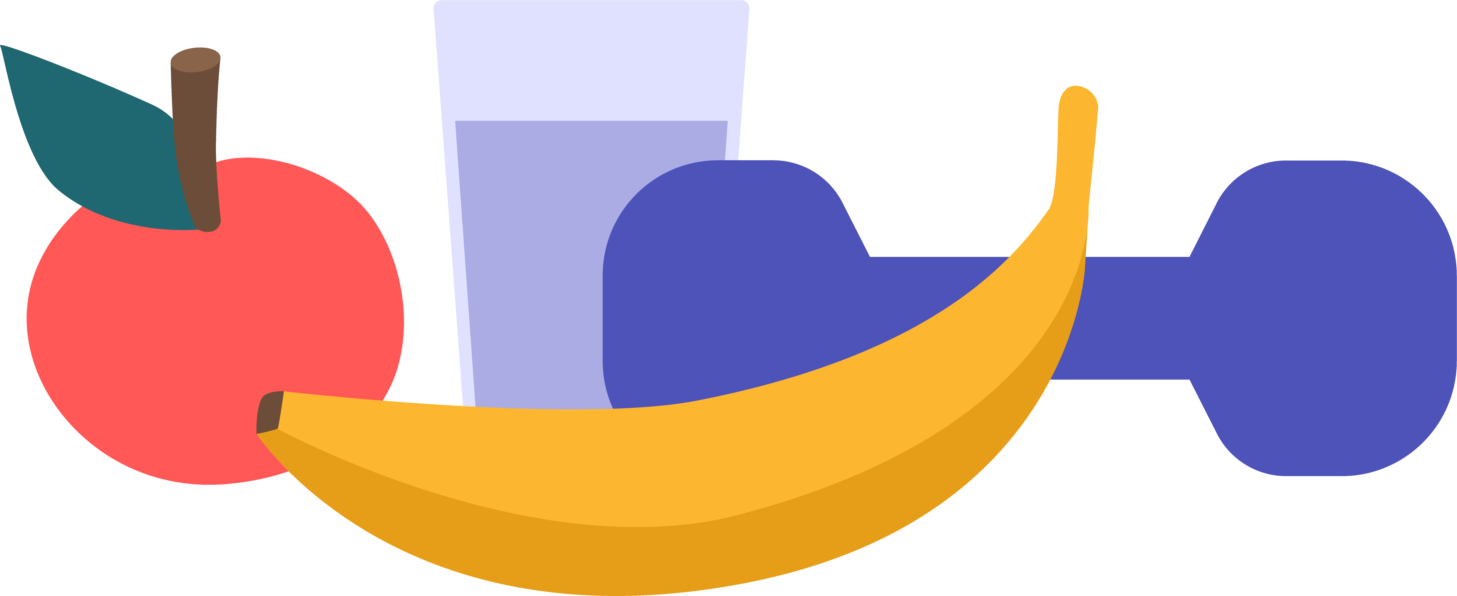 An apple, banana,hand weight, and glass of water