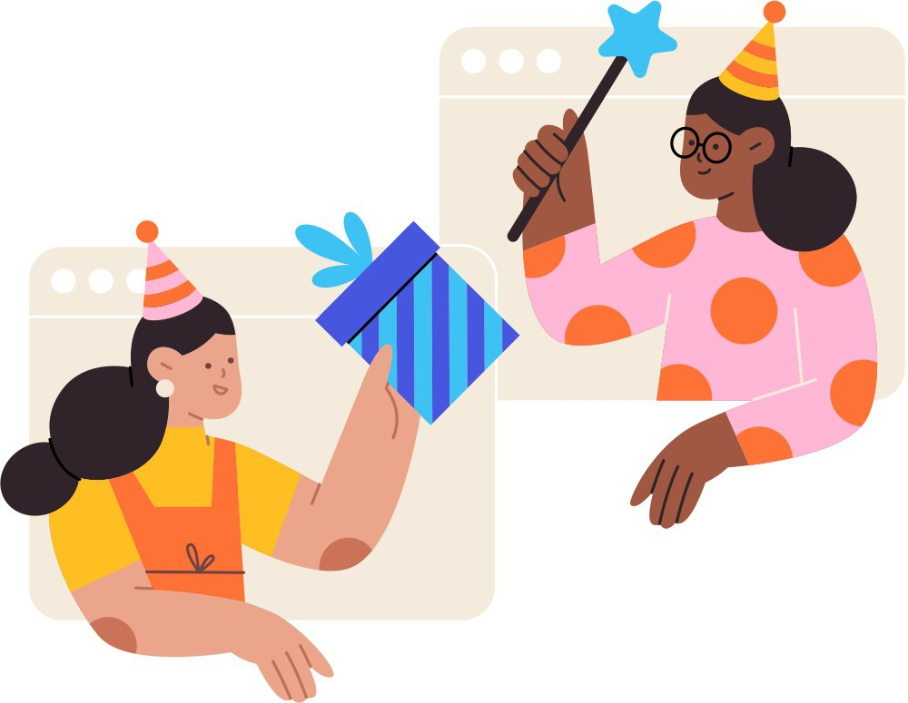 Two people in separate browser windows, both wearing party hats. One person holds up a gift to the other person, who is holding a star wand.