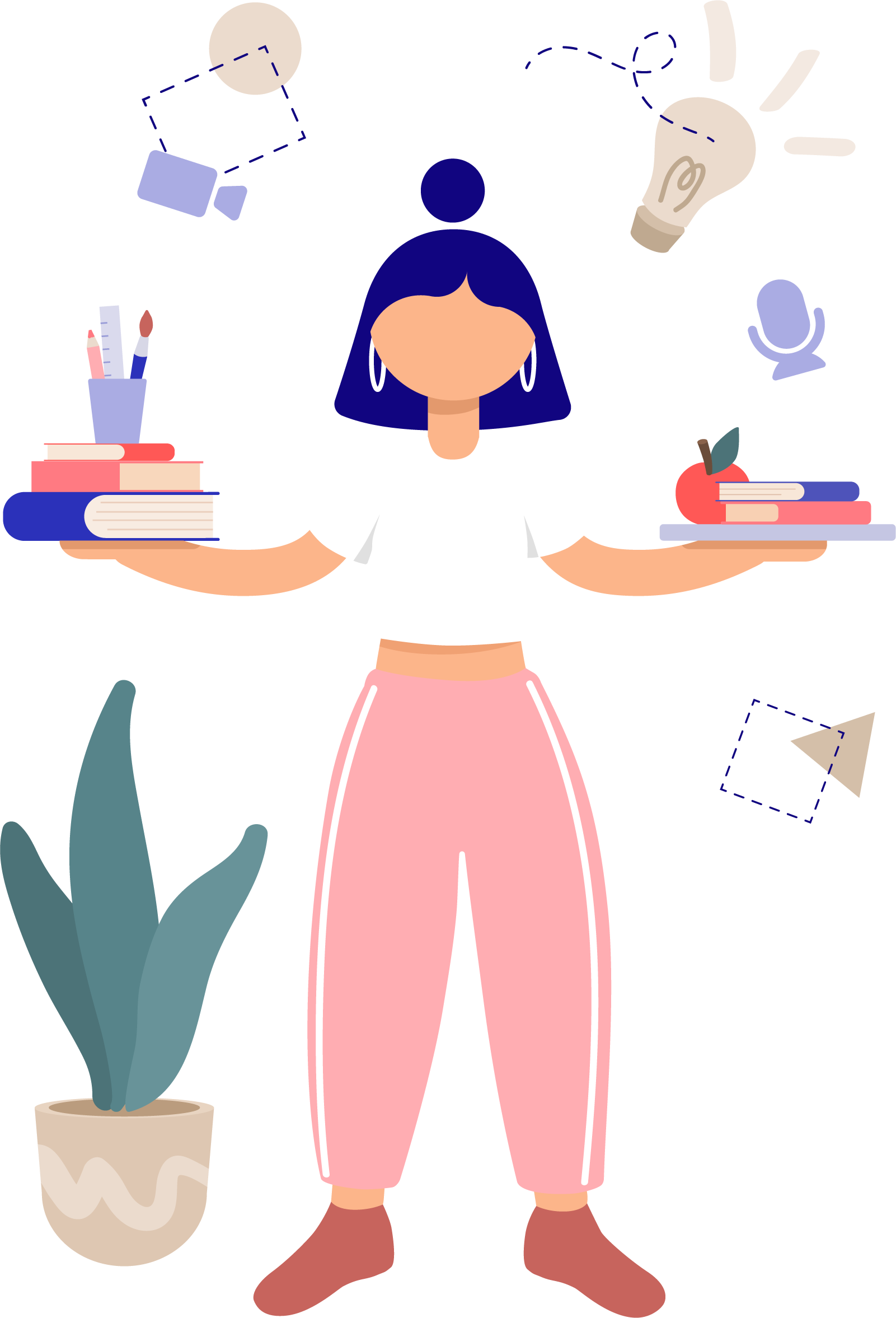 A person holding books, paints, and an apple. Their arms are spread out, balancing these objects. Icons for a mic, video, a lightbulb, and geometric shapes float around them.