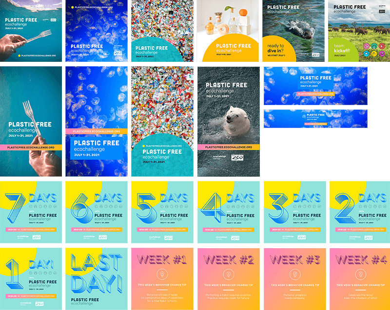 A grid of Plastic Free Ecochallenge social media graphics for download