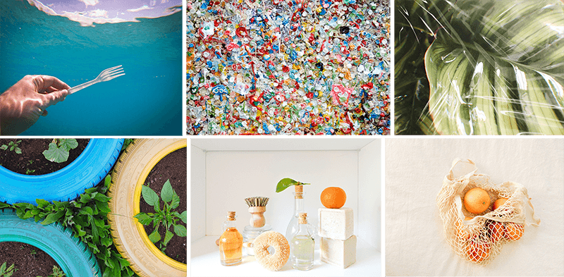 Six sustainability backgrounds: a hand holding a plastic fork underwater, a colorful wall of millions of pieces of used gum, a plant leaf covered in plastic, planters made of car tires, an array of plastic-free household items, and a cotton mesh bag holding a bunch of oranges